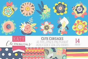 Cute Corsages clip art with papers