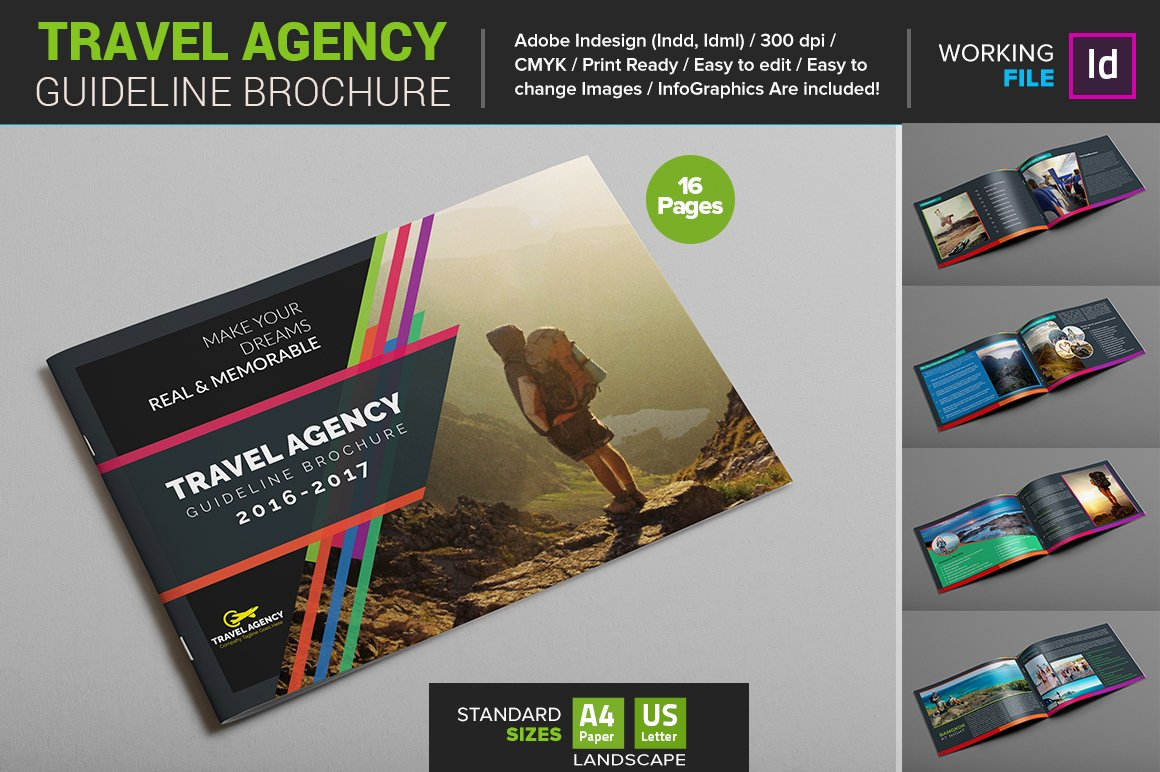 Travel agency guide brochure brochure templates on for Ad agency brochure design