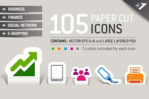 105 Papercut Icons