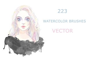 set of 223 watercolor vector brushes