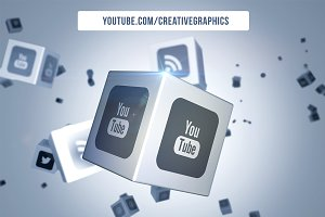 Social Media Logo on Cubes PS Mockup