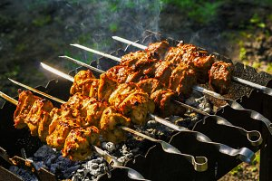 Chicken and veal kebabs barbecues