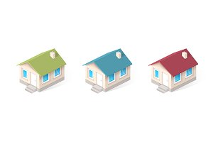 House isometric vector icons set