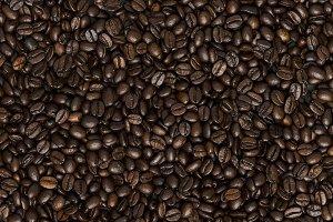 Grains of black coffee