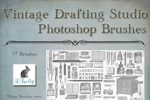 Vintage Drafting Studio Brush Set