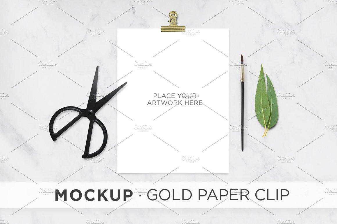 mockup . gold paper clip ~ product mockups ~ creative market