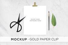 Mockup . Gold Paper Clip