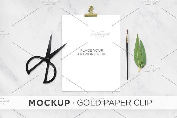 Free Mockup . Gold Paper Clip