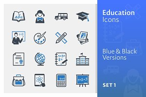 Education Icons Set 1 - Blue Series