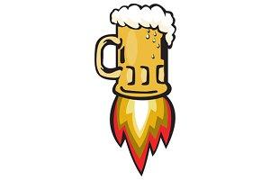 Beer Mug Rocket Ship Blasting Retro