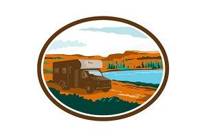RV Camper Van Desert Scene Ova