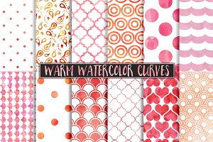 Warm Watercolor Polka Dot Patterns