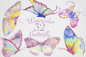 Watercolor Butterfly Set #2