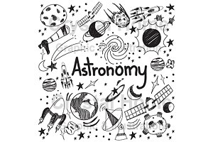 Astronomy education doodle icon