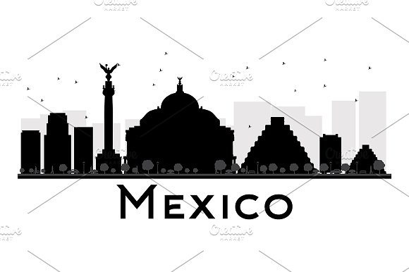 Mexico City Skyline Silhouette