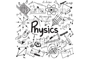 Physics education doodle icon