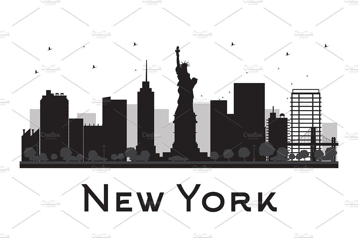 Line Art New York : New york city skyline silhouette illustrations