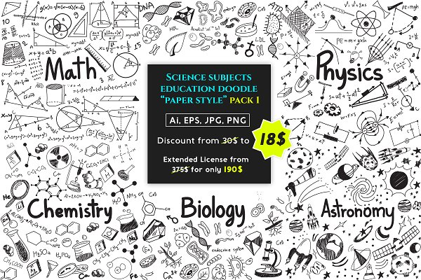 Education doodle icon set pack!