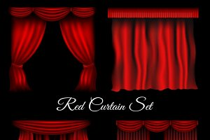 Red curtains icons set