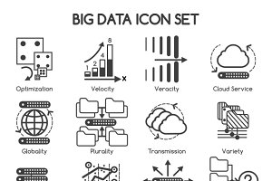 Big data vector icons