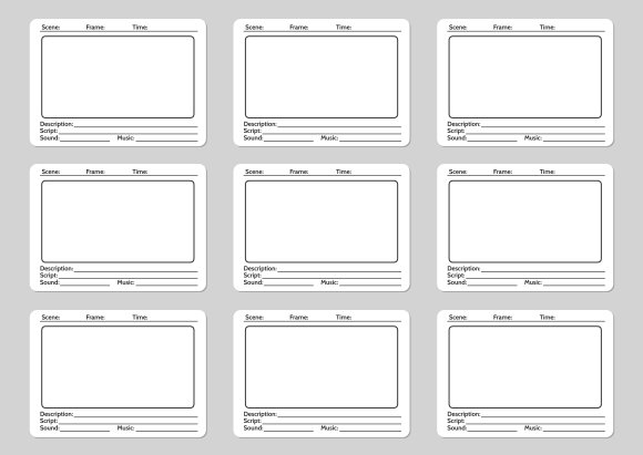 Storyboard template for film story graphics creative for Film storyboard template word
