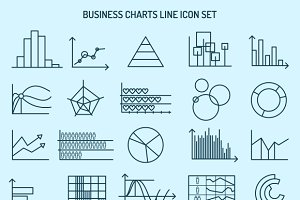 Business charts line icons