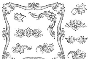 Vintage floral engraving elements
