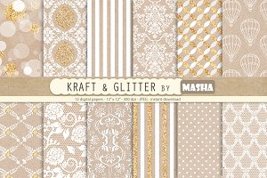 KRAFT AND GLITTER digital papers