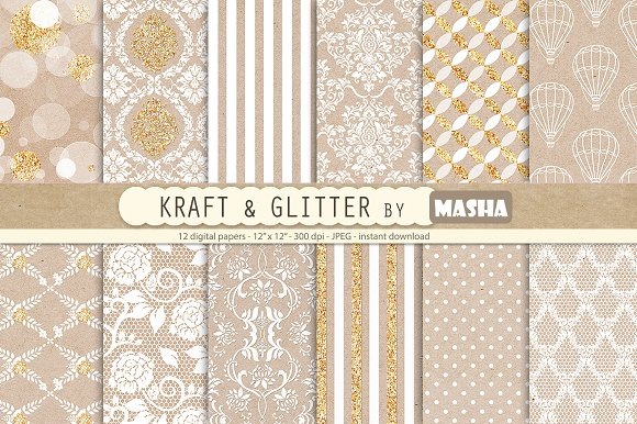 KRAFT AND GLITTER digital papers in Patterns
