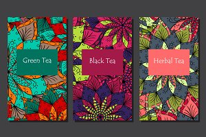 Packaging for tea+flower patterns