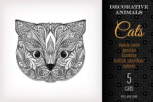 5 Decorative Cats (heads)