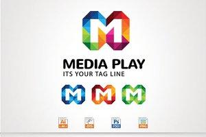 Media Play,M Letter Logo