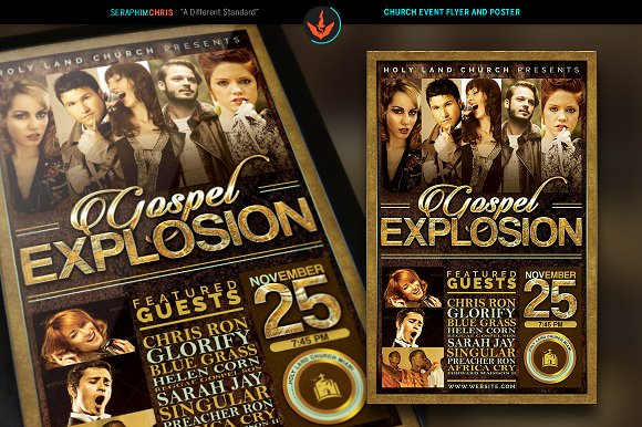 Gospel explosion flyer plus poster flyer templates on for 11x17 poster template photoshop
