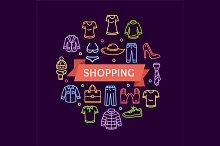 Clothing Shopping Concept. Vector