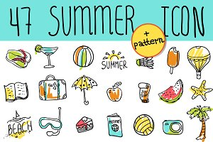 Summer & Travel doodle icon