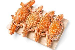 Steamed flower crab