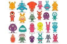24 cute doodle monsters