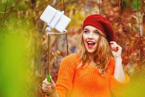 Hipster cute girl funny selfie