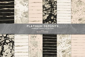 Platinum Deposits Marbled Gold Paper