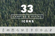 33 Vector Hiking & Camping Icons