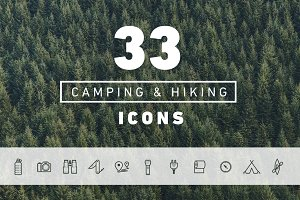 33 Vector Hiking & Camping Icons