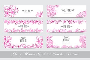 Pink Cherry Blossom Cards + Patterns
