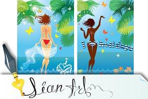 Woman in bikini swimwear at tropical