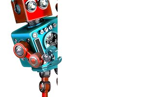 Retro Robot with blank banner. 3D illustration. Isolated. Contains clipping path