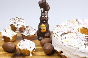 Easter cakes, Bunny and eggs
