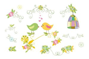 Cute design element with birds