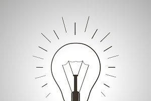 Black simple light bulb icon