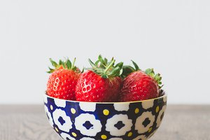 Strawberries in colourful bowl