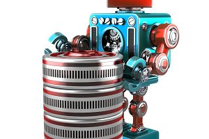 3D Robot with database. Technology concept. Isolated. Contains clipping path