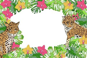 №128  Flower orchid and jaguar